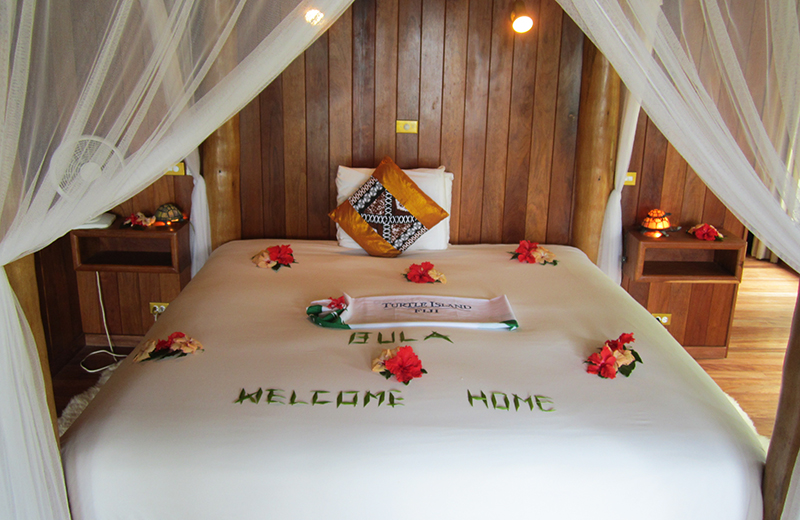 Welcome message waiting on our bed. Photo: Chris Ashton