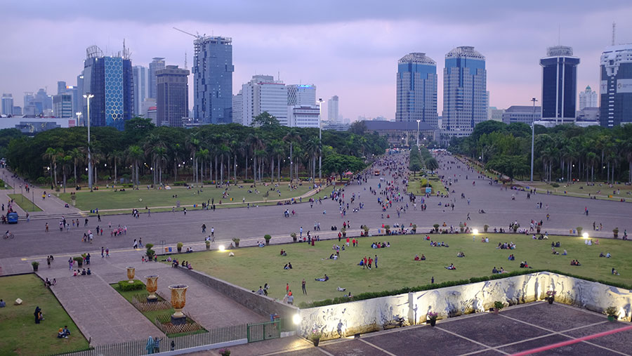 Crowds at the National Monument, Jakarta